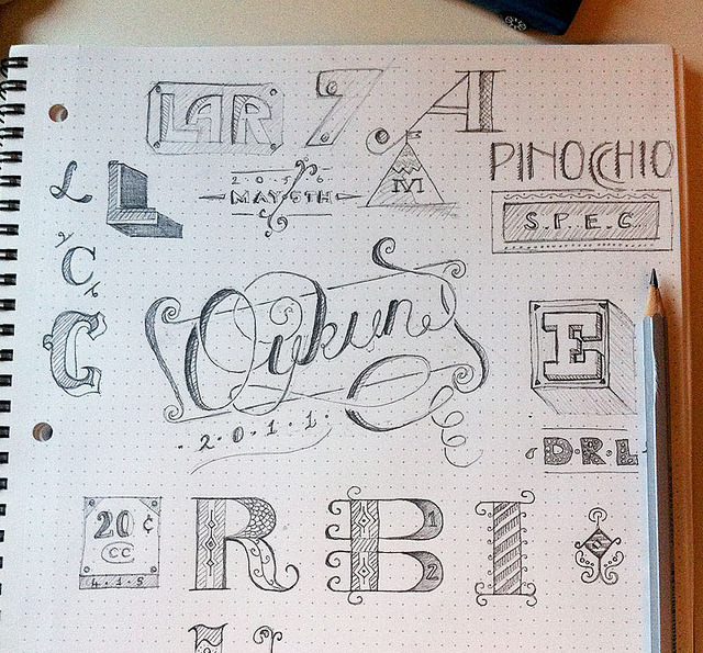 Sketching letters on Flickr. Here is my first attempt to typographic drawing. Recently I have been looking at many cool typos on web, they made place in my head :) and I draw some letters here as I remembered : ) so I don't take full credit for some. ps, sorry for bad photo, taken with mobile under terrible light. I have a lot to learn!  thanks,