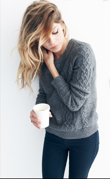 What I'm feeling lately. Cheap Mondays, knit sweaters, chai tea lattes.