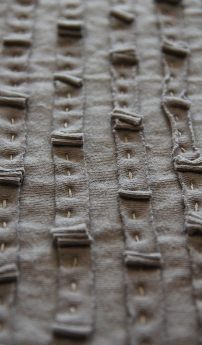 Hand stitching on Ruffled Tied Wrap from Alabama Chanin New Collection, 2011