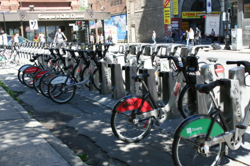 Bikes in Montreal as part of the Bixi program. I'll write more about my experiences with it later. They're obviously getting used, though!