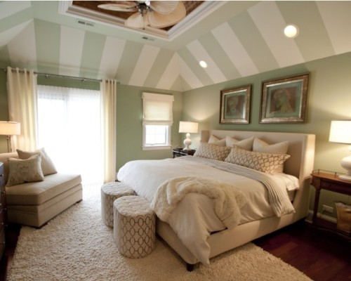 striped tray ceiling paint - colors, locations, slightly lighter green on ceiling than walls stripes cut down the height of the room a lot more than if the green went all the way up the slanted ceiling, but less of a unique design that way soft, calming feel rug lighting texture - rug, throw, linens, bed, pillows bed hardwood floors ceiling fan