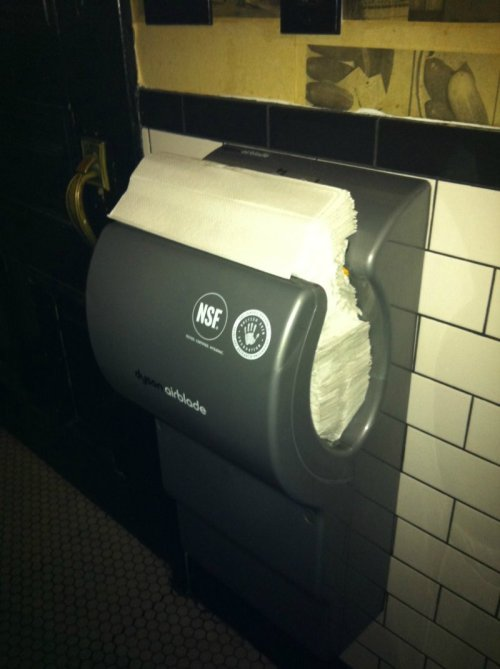 Hand Dryer Filled with Paper Towels I'd be blown away, but I'm out of order.