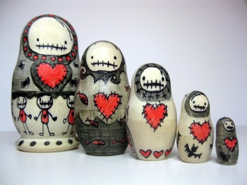 "Etsy Nesting Zombie Dolls. Or Russian Matryoshka Zombie Dolls. These sold for $100. From the Etsy store of PsAndQs. Check out their listings for more zombies, devils etc"", Also, look at my next post for a kind of a DIY."