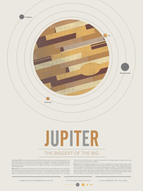 "kickstarter:  Jupiter, from the Beyond Earth poster series, a collection of vintage-inspired posters that look like they came from 1965 (down to the ""current known facts"" about each celestial orb). Space is the place!!"