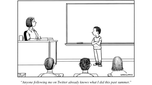 newyorker:  Heading back to school? On Twitter? Then this cartoon of the day is for you… Remember to enter this week's cartoon caption contest: http://nyr.kr/r46had  hahahaha so sassy