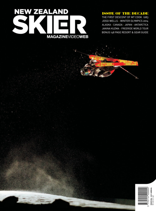 Jossi Wells on the cover of New Zealand Skier. Photo by Nate Abbott.