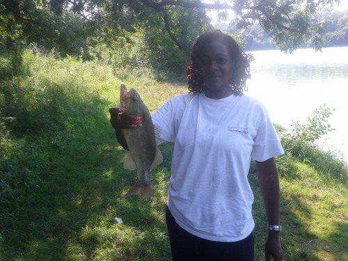 My mom caught a big mouth bass, 10 min in.