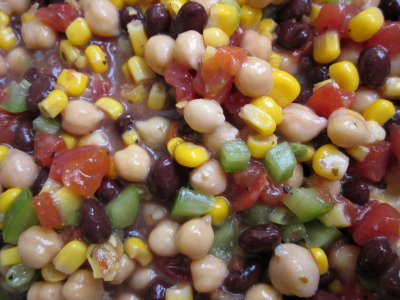 Cowboy caviar.  I was introduced to this dish over the summer in Dubuque, and have just been waiting for the day I could try to make it myself. And that day is today.  It's super tasty, super simple to make, and the black beans and chickpeas (which I substituted for black eyed peas) provide a good amount of protien for my confused vegetarian self.  Recipe here.