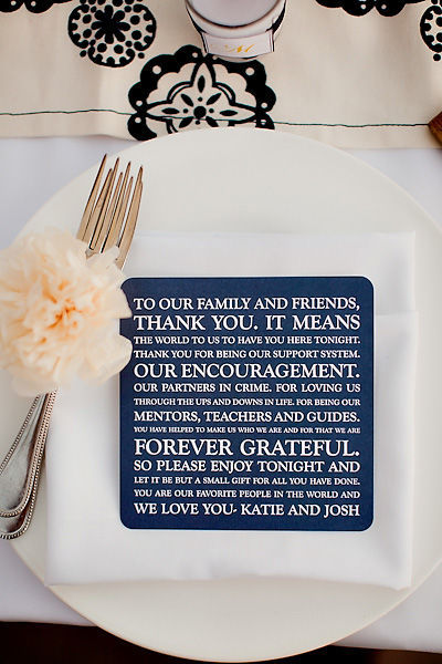 purplechicagowedding:  Back/Front or Alternative for Menu Cards - what a nice greeting for guests as they come to sit down.