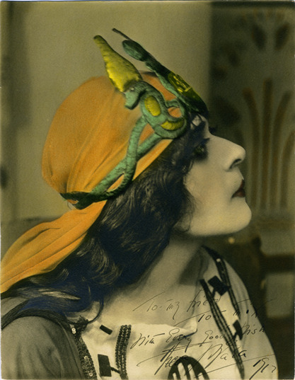sugarmeows:  Theda Bara as Cleopatra (hand-colored silver gelatin photograph, 1917) – Albert Witzel The photograph is signed by the actress for silent film cowboy actor Tom Mix.