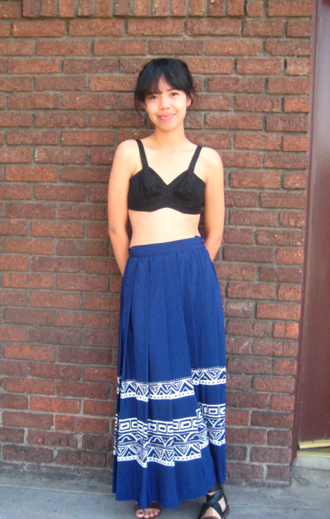 Vintage Black Bra $18Blue Printed Silk Skirt $24