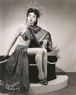 theniftyfifties:  Burlesque performer Ming Lee with bra and pants drawn on to make the photo more palatable for publicity, 1950s.