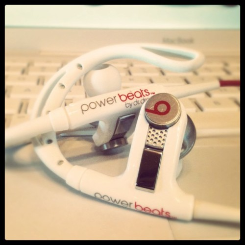 Apple and Monster, aesthetics champions. lucylovesbetty:  My #PowerBeats by #BeatsByDre given 2 me by @mrgraham354 Almost time 4 some #Heartbeats By #LadyGaGa (Taken with Instagram at Lady Starlight's)
