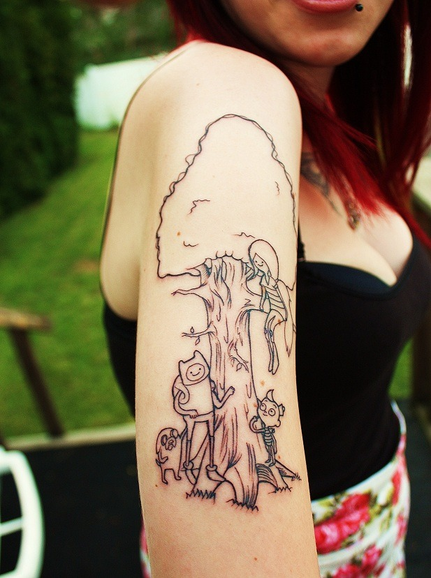 inkdgirls:  The start of my half sleeve that, when completed, will feature all of the cartoon characters I've watched over and over again. I'm getting mostly characters that represent the ideas of imagination and adventure to remind myself to always stay creative even as I get older and get caught up in working, etc. I also plan on majoring in character animation in school. :)