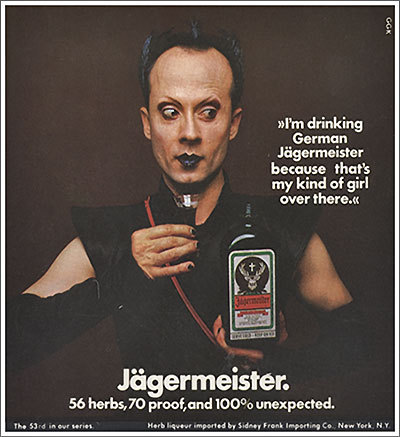 moonjunk:  Klaus Nomi advertising Jagermeister.