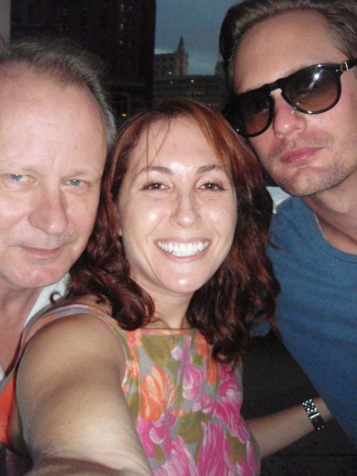 "Me and Alexander Skarsgard and Stellan Skarsgard. Stellan said ""we will all have to squeeze together""! lol  http://twitter.com/#!/badkittykaron"