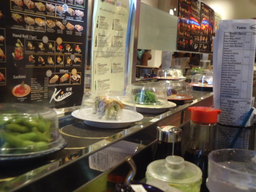 My first time going to a revolving sushi bar. I even had Toro(fatty tuna) sushi. :3 This was on my California trip.