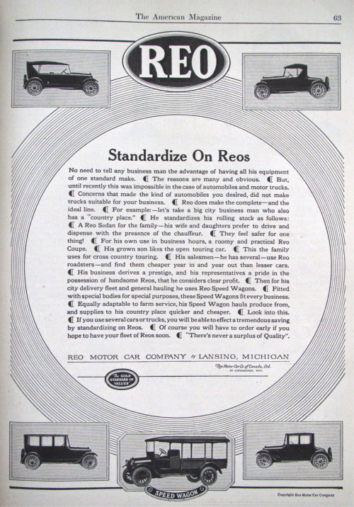 """There's never a surplus of Quality"" REO Motor Car Co. (1921) #ad"