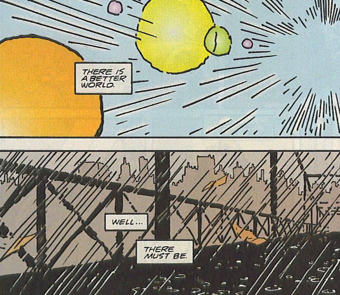 Closing panels of Grant Morrison's final issue of Doom Patrol.