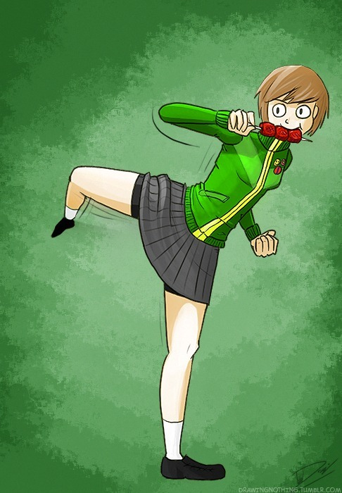 Kicking ass doesn't get in the way of Chie's eating. Drawing for today, Chie of Persona 4!