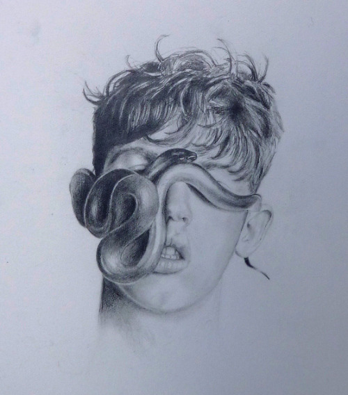 Snake Face  lead on paper, 2010 by Michalea Gerrity