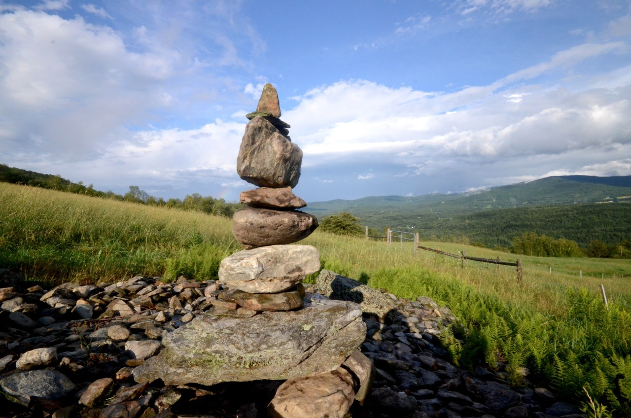 Cairn for the Clouds. 7/26/2011, with just a speck of rainbow left For more of my cairns check out the collection STONES @ http://www.windburnedstallion.com/