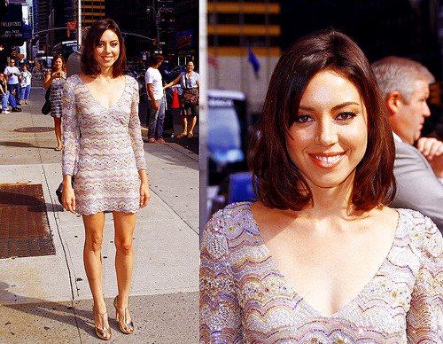 Aubrey Plaza arrives for the 'Late Show With David Letterman' at the Ed Sullivan Theater on August 31, 2011 in New York City