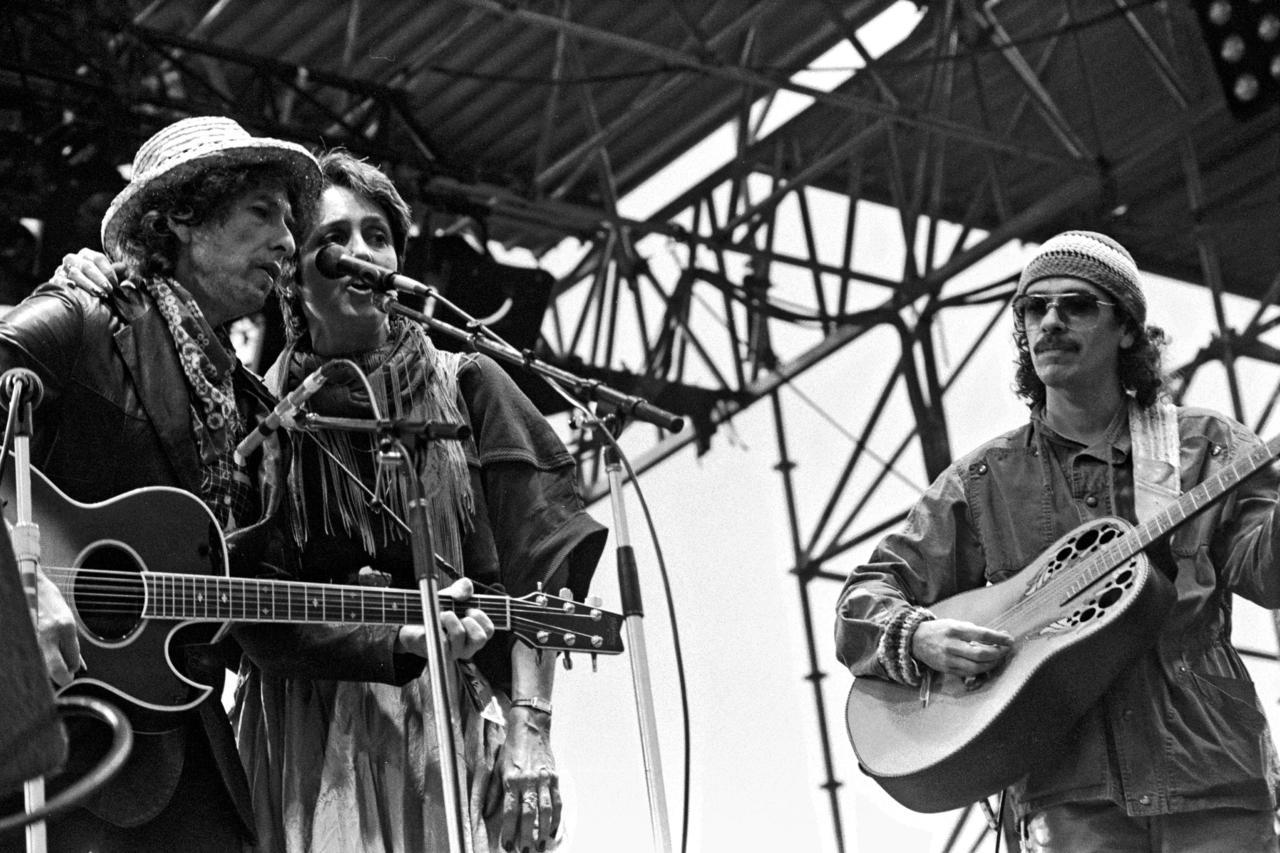 Bob Dylan, Joan Baez and Carlos Santana, 1984
