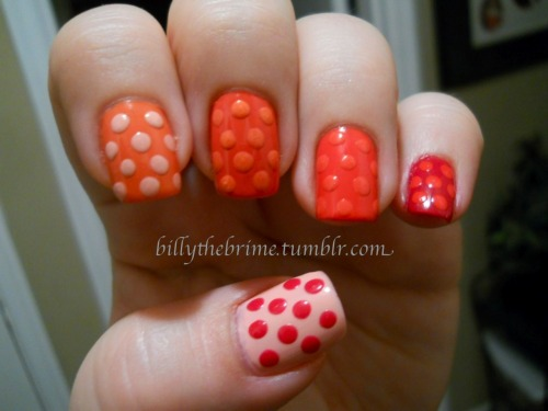 Nail Art Challenge Design 8: Dots, Pink Wednesday edition Colors Used: Wet n Wild Megalast- Cherry Blossom Wet n Wild- Blazed Sinful Colors- Thimbleberry Sally Hansen Insta-Dry- Sonic Bloom Random dark pink from Ross