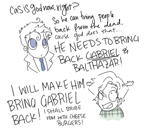 cargsdoodles:  poor sad little moose.  Sammy you jerk you lost the right to ask anything of Cas when you tried to murder him! HAVE YOU NO SHAME?!