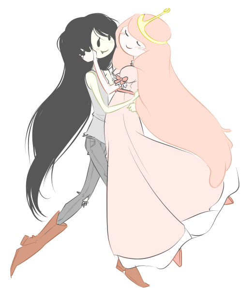 marshall-lee:  istehlurvz:  OH WOW, I ACTUALLY DREW THEM NOT GENDERBENT? what's the world coming to. Marceline/Bubblegum  Oh my gosh wow, sjdkbcsvjkbsadv<3 This is beautiful *O*  I love them so~