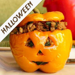 Quinoa Stuffed Mini Jack-O'-Lanterns