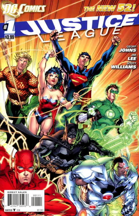 "comicsforever:  So I Read Today… Justice League #1 (2011) This is it, this is the beginning of the new DC Universe, a single issue released next to Flaspoint #5 and 76 years worth of comic history are gone to begin anew in this single issue. It has been hyped like this was the best damn thing ever next to breathing. Justice League #1, wherever we like it or not represents a whole new beginning for DC Comics, so as I comic fan I ask myself: Is this single comic worth everything we have been told about it? This comic lives up to the hype?. I'm gonna try to break this down in a way that is very simplistic: This reads, feels and looks like ""Ultimate DC"". There, I said it. For the most part Justice League #1 is exactly the kind of comic I was expecting it to be. It reads really good, but by the end of it you know you are getting a slow-paced origin story, very much like Ultimate Spider-Man, a character who had his origin told in the first seven issues of his own comic. This is not necessarily something bad, but I don't know if it is really good either, a casual reader might get the incredible need to ""wait for the trade"" something that I has been told is despicable by hardcore comic fans. As a fan however I feel excited, Jim Lee can still draw a damn good looking comic and Geoff Johns delivers fresh versions of each familiar face, Hal Jordan talks like a man in his early 20's, he could be your school's jock with all his overconfidence. Batman is always disciplined and focused, albeit a bit green but incredibly cocky. Superman looks rejuvenated, powerful and arrogant. This first issue also steps into a familiar ground: Metahumans are feared and despised in this new DC Universe. I would like to to see what will take for the people of the new DC earth to trust these guys. All in all, this new beginning might grab new readers if they feel like waiting a month for each chapter of the story. But for an old timer like me, this ain't new ground, this is Crisis On Infinite Earths all over again, only with a new paint coat, one that looks really pretty and feels just right. For an old timer like me this is just another really damn good comic. I wish DC the best of luck with this bold move they certainly showed a lot of balls just by taking the risk.   :/"