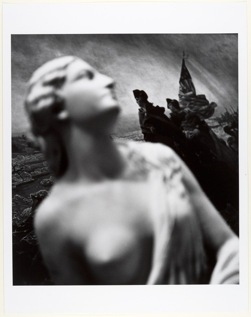 Spirit of the Revolution ,1965 by John Gutmann [Randolph Rogers's Marble Sculpture (Ruth Gleaning, 1850) before Emanuel Leutze's Oil Painting (Washington Crossing the Delaware, 1851) ] from MetMuseum