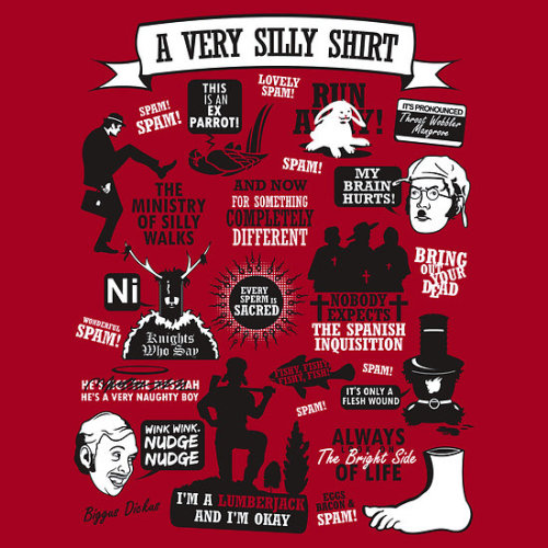 ianbrooks:  Monty Python Quotes by Tom Trager Shirt available at redbubble. Nobody expects the spanish inquisition!