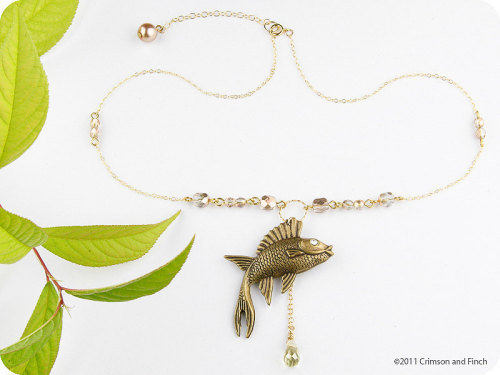 """Something Fishie"" necklace now with 15% off! Use code: WEEKEND at check-out."