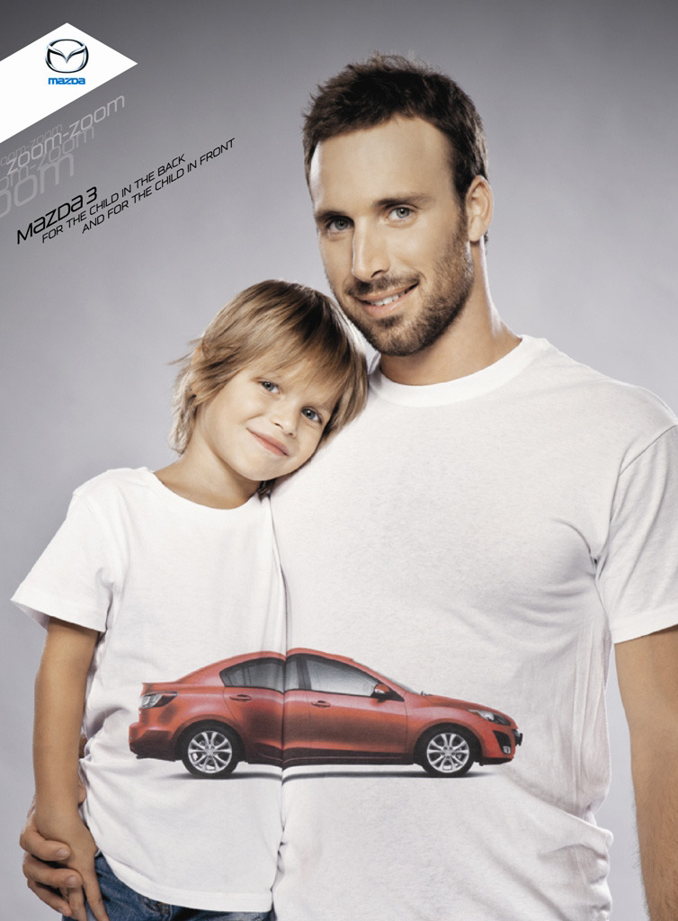 Mazda 3For the child in the back and for the child in the front. Advertising Agency: BBR Saatchi & Saatchi, Tel Aviv, IsraelChief Creative Officer: Nadav PressmanCreative director: Eran NirCopywriter: Tomer GidronArt director: Yuval ZukermanVP Client Service: Idit ZuckermanAccount Supervisor: Yogev WeissAccount executive: Ziv MishaanVP Strategic Planning: Gili SassonPlanner: Gilad KremerVP Production: Dorit GviliProducers: Gali StarkmanPhotographer: Adi OrniPhotoshop: Yaniv Shachar