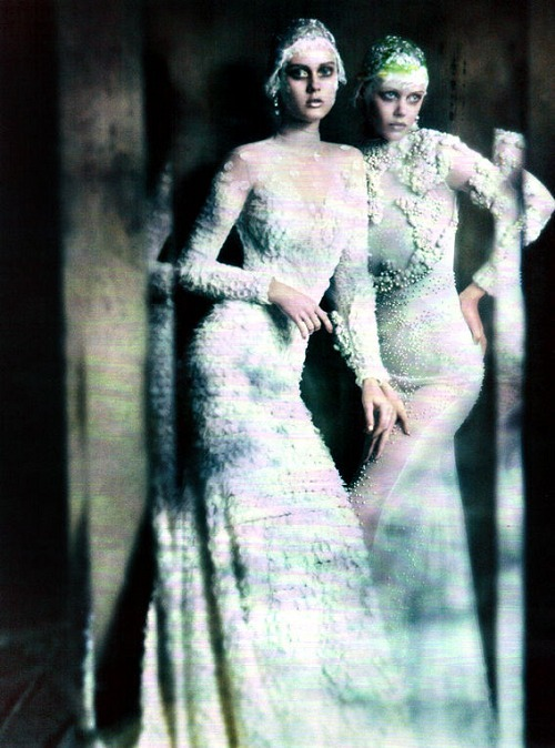 highlikefashion:  Monika Jagaciak and Frida Gustavsson shot by Paolo Roversi for Vogue Italia
