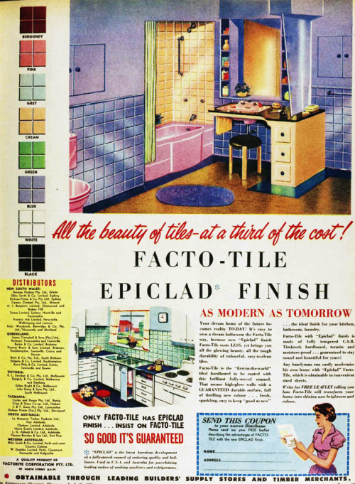 Blue pink and yellow 1956 bathroom, made with 'Facto-tiles'.