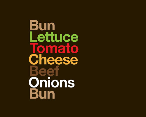 Type Sandwiches, a set by David Schwen on Flickr.Un'idea davvero simpatica quella di sostituire gli ingredienti con dei coloratissimi caratteri tipografici :)