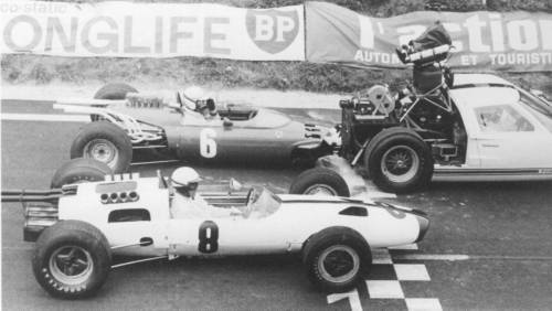 On the set/track of Grand Prix, 1966. The cameras were mounted in a Ford GT40, in that scene the GT40 was attached to a Ferrari 158, the result was a very realistic and beautiful frames.