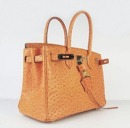 (via Hermes Birkin ostrich in Orange brick to Kelly Rutherford | Chic Bags)