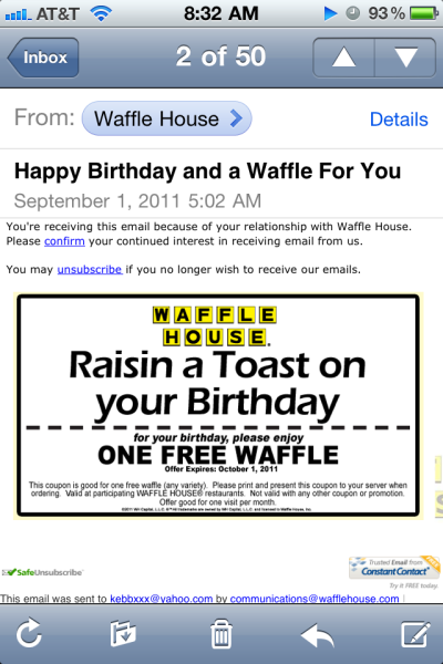 Waffle House sent me a coupon. I probably won't use it, but thank you Waffle House.