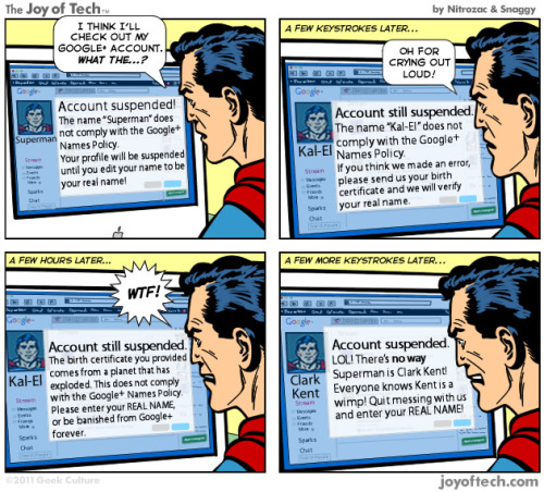 smalltalktumblr:  COMIC: Superman vs. Google+ (via AllThingsD)  pwned
