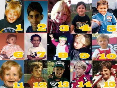 webberlover:  Baby F1 Awwwww :) Can you name them ? is it a bit wierd that i could name most of them? lol  1 - Kimi Raikkonen 2 - Sebastien Buemi 3 - Jenson Button 4 - Felipe Massa 5 - Fernando Alonso 6 - Vitaly Petrov? 7 - Lewis Hamilton 8 - Heikki Kovalainen 9 - Nick Heidfeld or Mika Hakkinen 10 - Jarno Trulli 11 - Mark Webber 12 - Rubens Barrichello 13 - Sebastian Vettel 14 - Nico Rosberg 15 - Jacques Villeneuve? My best guess :p
