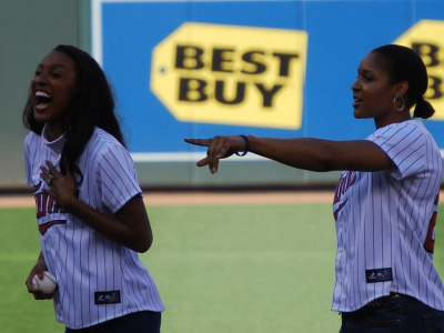 Maya Moore and Candice Wiggins of the Minnesota Lynx were guests at a recent Minnesota Twins baseball game.