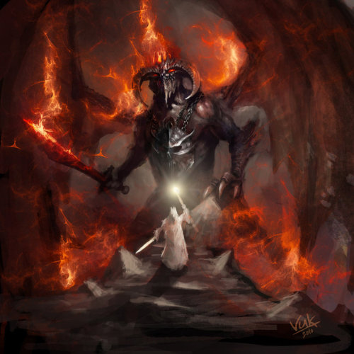 pacalin:  Wizard vs. Demon - by Vuk Kostic via: geeksngamers  WIZARD??? Gandalf is not a WIZARD he is… THE FUCKING WIZARD