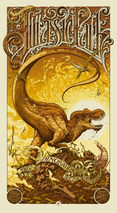 Simply incredible Aaron Horkey 15 color Mondo / Alamo Drafthouse Jurassic Park movie poster. Found on OMG.
