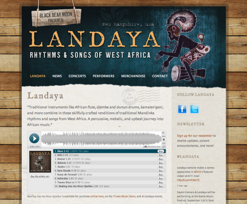The recently launched website for Landaya Ensemble, a performance group from NH.