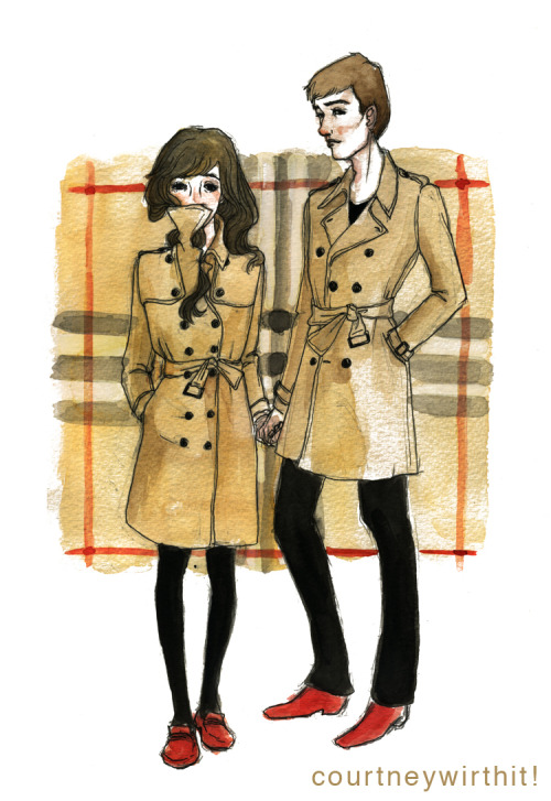 If Burberry was a couple. Gouache and ink and because I love Burberry.